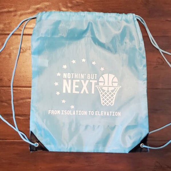 Nothin' But Next blue drawstring bag